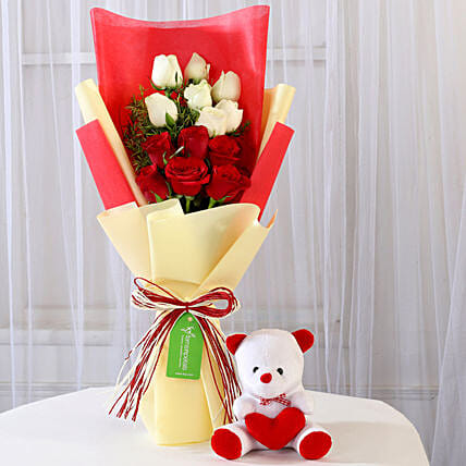 Red and White Roses with Teddy Combo