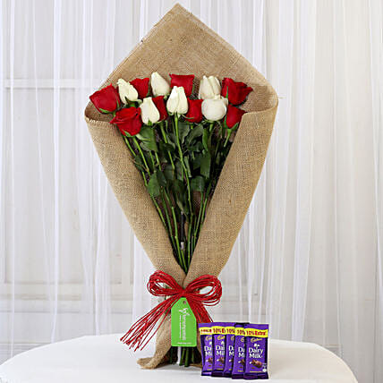 Red and White Roses Bouquet and Cadbury Dairy Milk Online