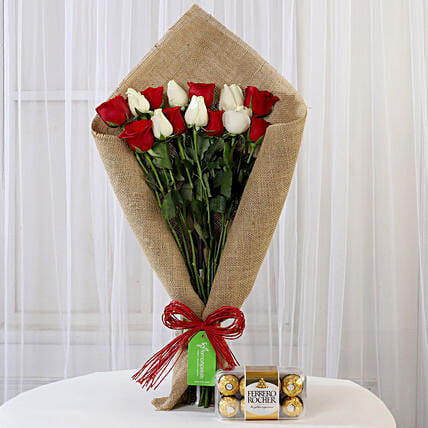Red and White Roses Bouquet and Ferrero Rocher Online
