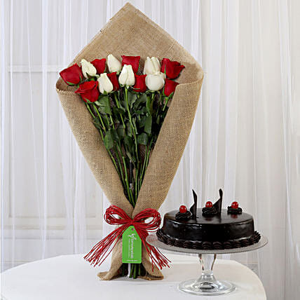 Red and White Roses Bouquet and Truffle Cake Online