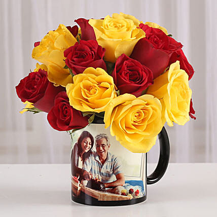 Lovely mix roses with printed mug:Grandparents Day Mugs