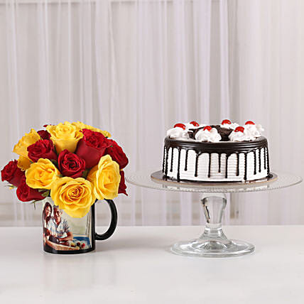 mix roses with customized coffee mug or cake