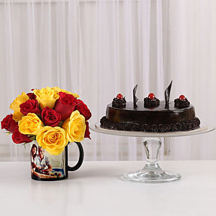 chocolicious surprise with printed mug n roses