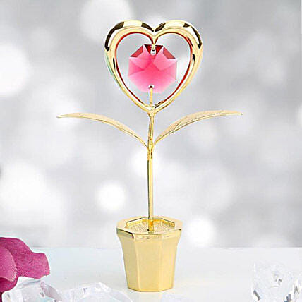 Swarovski heart with vase:Gold Plated Gifts