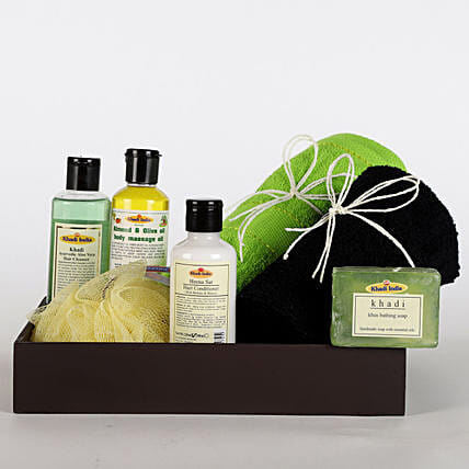 Rejuvenating Hamper-Khadis Body gel 210 ml,Hair Cleanser 210 ml,Hair Conditioner 210 ml,Soap 150 gms,Nourishing Cream 50 gms,1 black,1 green Bombay Dyeing Hand Towel