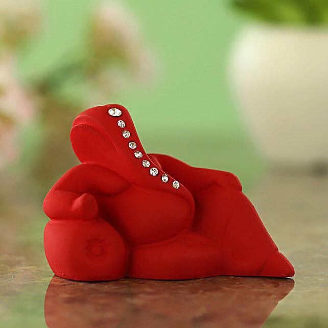 online Resting Ganesha Idol- Matte Red
