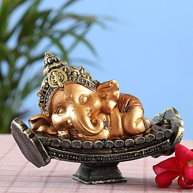 online Rich Golden Resting Bal Ganesha Idol:Ganesh Idols