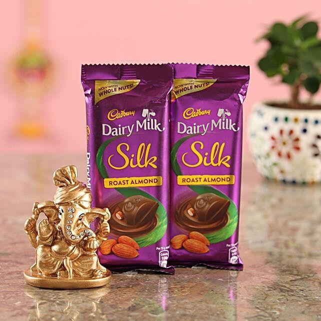 Roast Almond Chocolate Golden Ganesha Idol