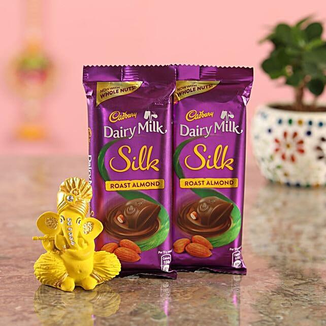 Roast Almond Chocolate Yellow Ganesha Idol
