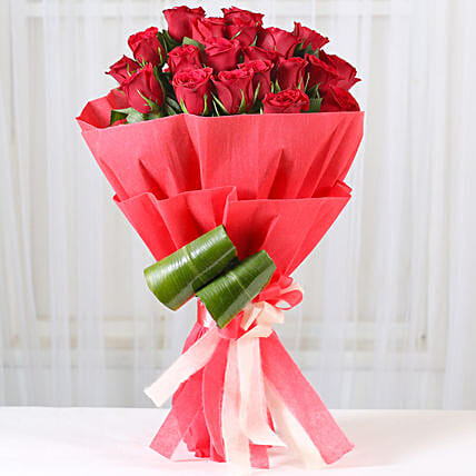 Bunch of 20 red roses with draceane leaves gifts:Gifts for Rose Day