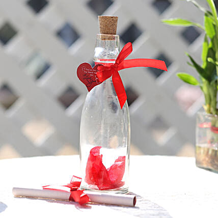 rose day greeting in bottle:Message Bottles