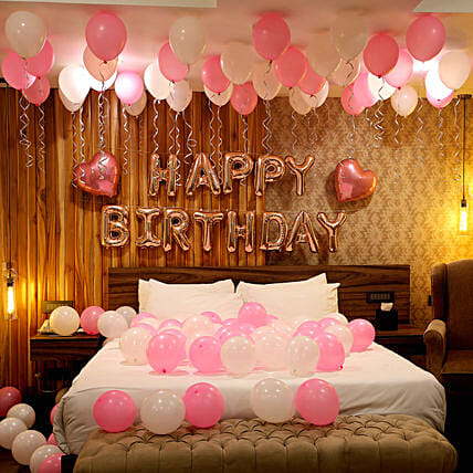 Rose Gold Birthday Theme Balloon Decor