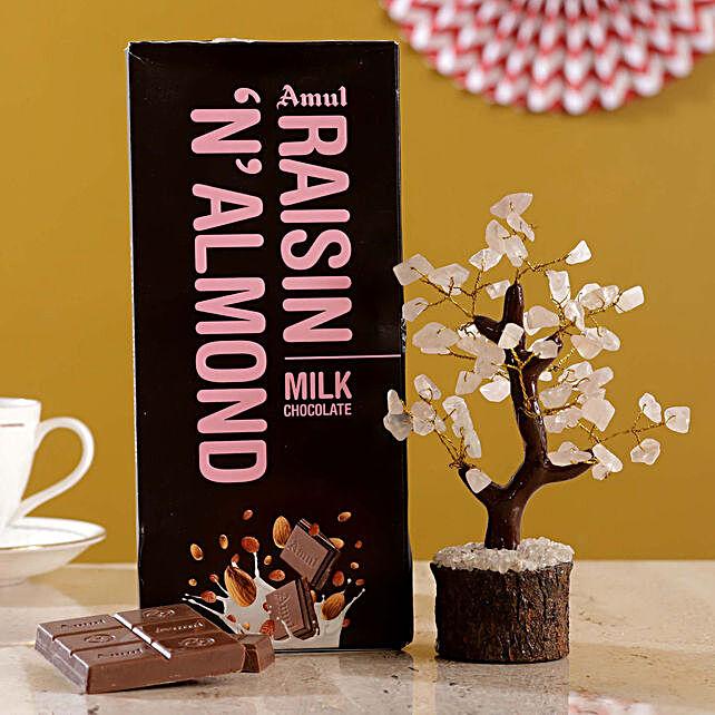 Rose Quartz Wish Tree Amul Raisin N Almond Chocolate