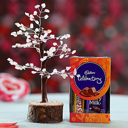 online rose wish tree with chocolates