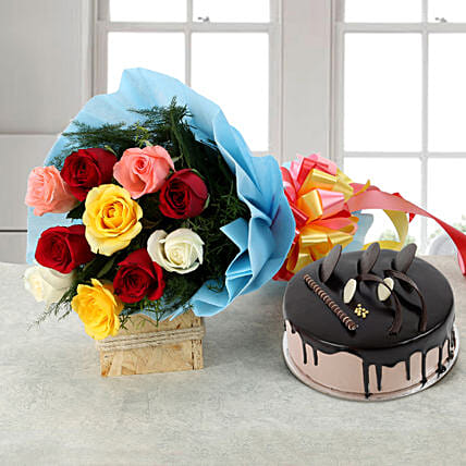 Rose Repose - Bunch of 10 Mix colour roses & 500gm Chocolate:Cake Combos