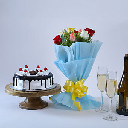 Roses & Black Forest- 500 grams of black forest and Bunch of 10 mix colour.:Mothers Day Gifts Patna