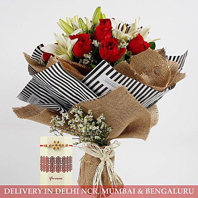 Bunch of Flower and Rakhi Online
