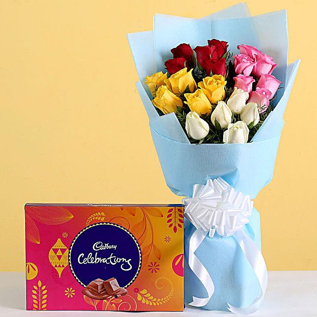Roses Bouquet & Cadbury Combo