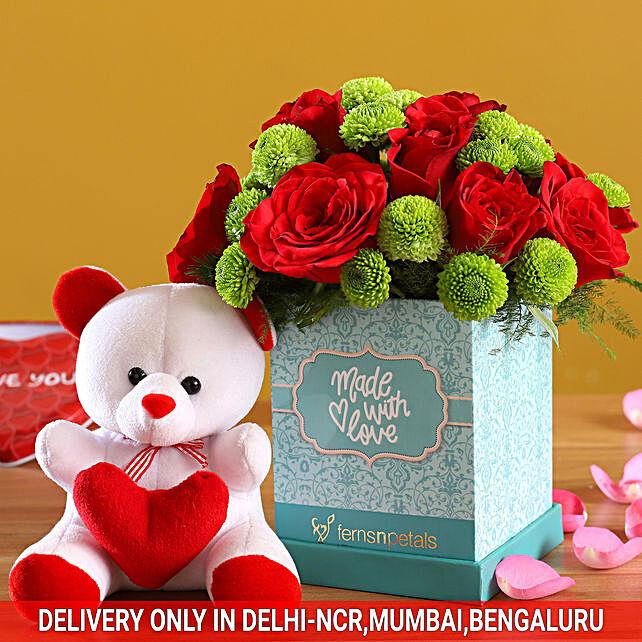 Roses & Daisies In Elegant Box & Cute Teddy