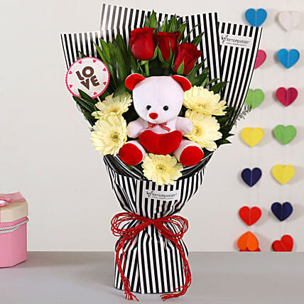 Roses Gerberas Bouquet With Teddy Bear
