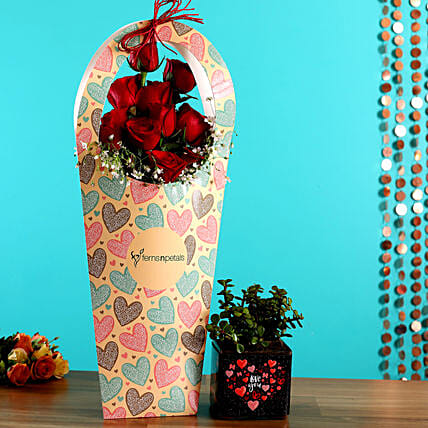 Roses Arrangement & Plant Combo for Her