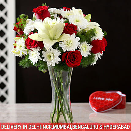 2 mix flower vase arrangement online