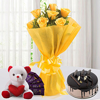 Roses N Choco Hamper - Bunch of 6 Yellow Roses with Chocolate Cake, 5 Cadbury Chocolates & Soft toy.