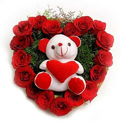 Roses N Soft toy - Heart shape arrangement of 17 Red Roses and a Soft toy.:Heart Shaped Flower Arrangements