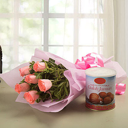Roses N  - Bunch of 6 Pink Roses with 1kg Gulab Jamun.