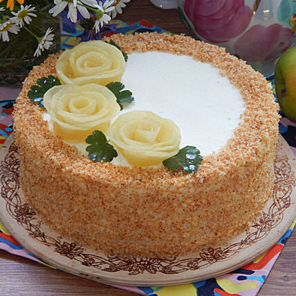 Roses On Top Pineapple Designer Cake:Send Pineapple Cakes for Valentine's Day
