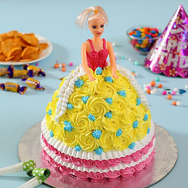 Rosy Barbie Cake Truffle 3kg Eggless