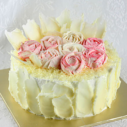 Rose Theme White Forest Cake:Designer cakes for anniversary