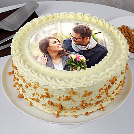 Personalised Round Shape Butterscotch Cake