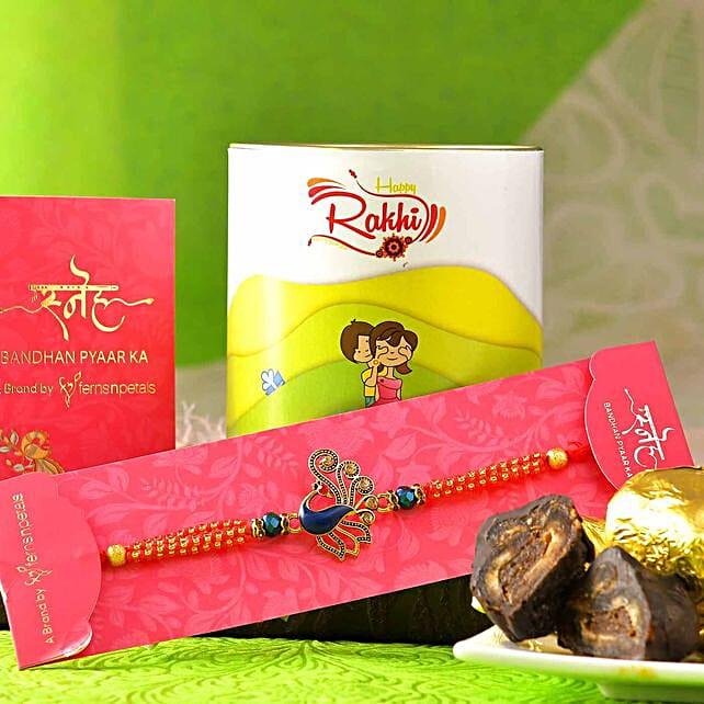 Royal Peacock Rakhi N Handmade Chocolate Paan Dates