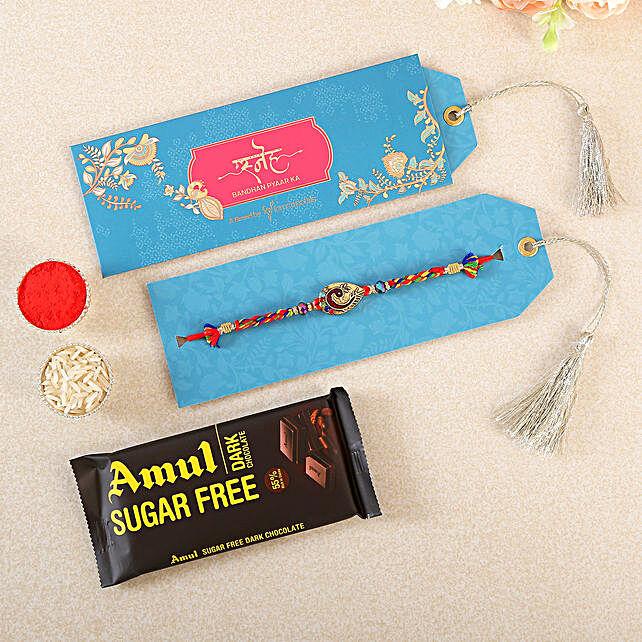Royal Peacock Rakhi With Chocolates