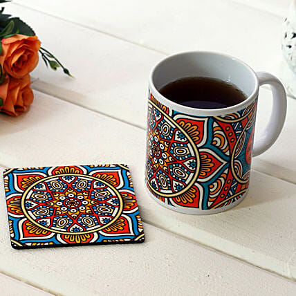 Royal Print White Ceramic Mug With Coaster