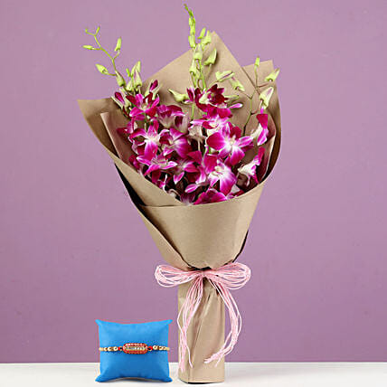 Online Royal Purple Orchid Bouquet & Capsule Rakhi