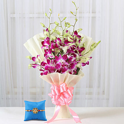 Online Royal Purple Orchid Bouquet & Pearl Rakhi