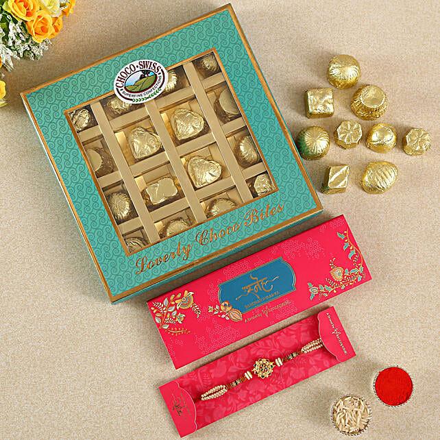 Rudraksha Rakhi And Chocolate Box