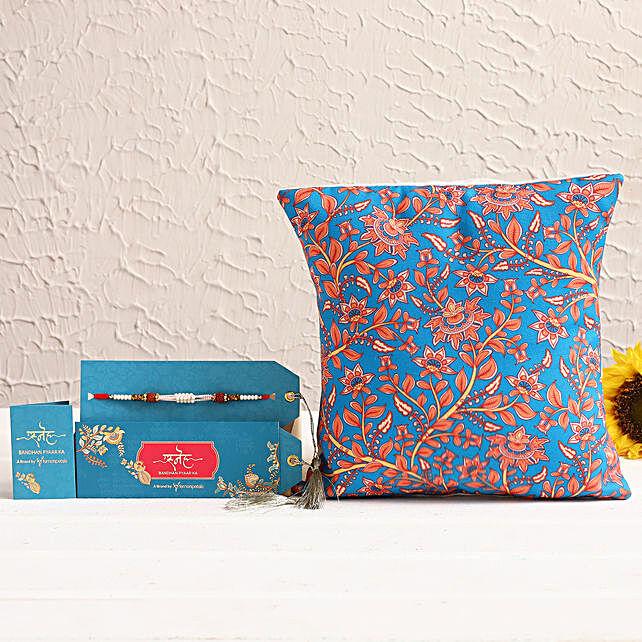 Rudraksha Rakhi & Printed Cushion Hamper:Rakhi With Other Gifts
