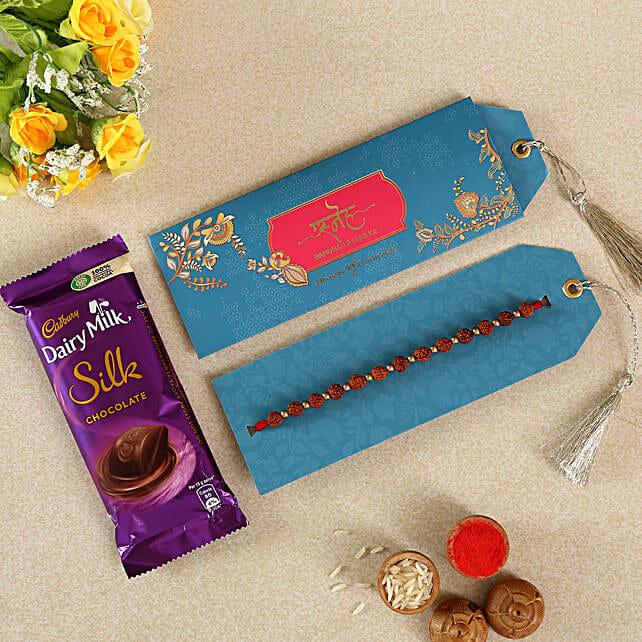 Rudraksha Rakhi With Chocolates