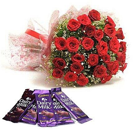 Bouquet of red roses and chocolates:Send Flowers to Washim