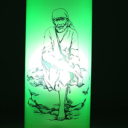 Sai Baba Bottle Lamp-1 green Sai Baba bottle lamp with wooden holder base,