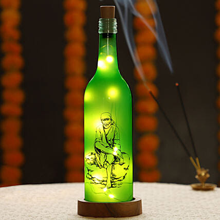 Sai Baba Printed LED Bottle Online:Bottle Lamp