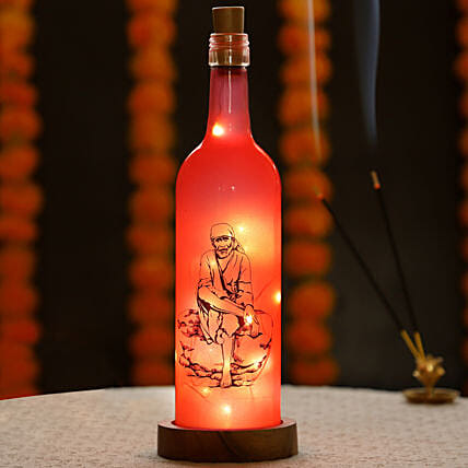 Online Sai Baba Printed LED Bottle:Send Led Bottle Lamp