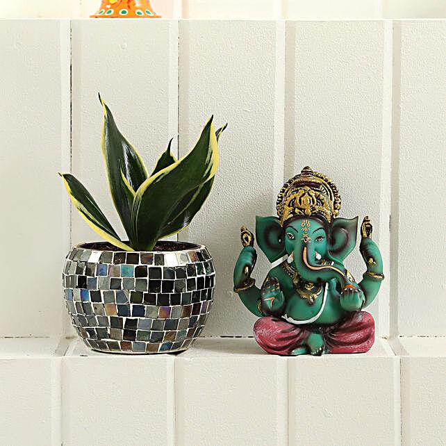 Sansevieria Plant Ganesha Idol