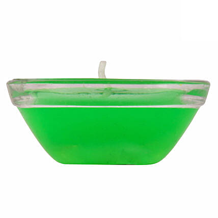 Online  Small Glass Green Gel Diya:Send Diyas