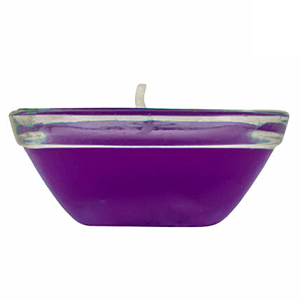 Online  Small Glass Purple Gel Diya:Send Diwali Diyas