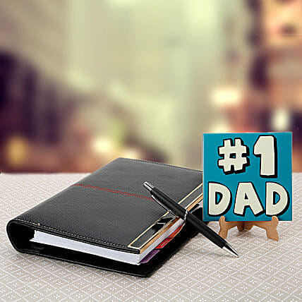 Combo of No 1 dad table top, executive organizer and a pen:Send Leather Gifts