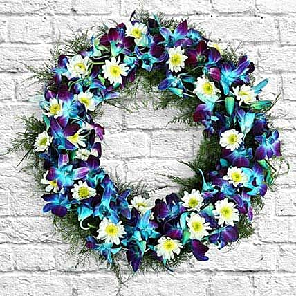 Flower wreath with seasonal filler